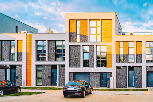 Apartment house home modern residential building complex street parking