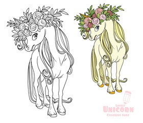 Magical unicorn in wreath of roses color and outlined picture for coloring book on white background