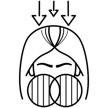 Female pattern baldness icon in outline style