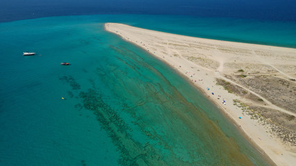 Poster Zanzibar Aerial drone photo of iconic exotic sandy peninsula and sandy beach of Possidi with turquoise clear sea, Kassandra, Halkidiki, North Greece