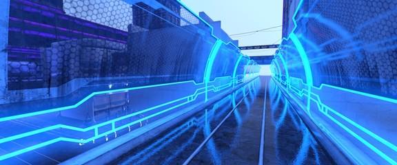 Fotomurales - 3D illustration of a futuristic bridge with blue neon lights. Cyberpunk wallpaper. Futuristic cityscape.
