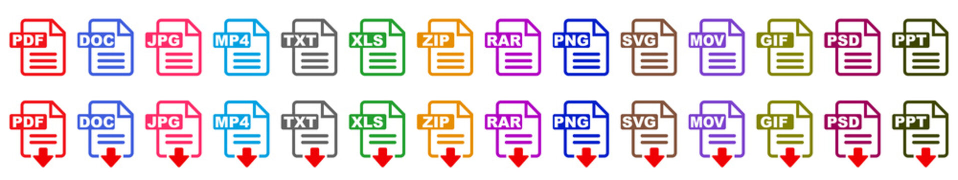 Symbol set  file formats, file extensions diverse icons set isolated - stock vector