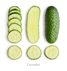 Wall Mural - Set of fresh cucumber slices