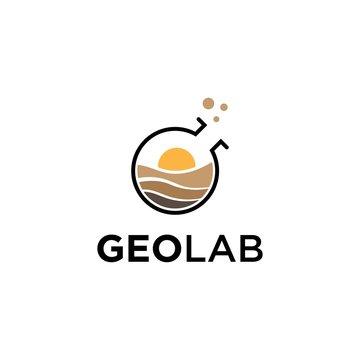 earth lab,nature lab symbol logo design template.geological symbol inspiration