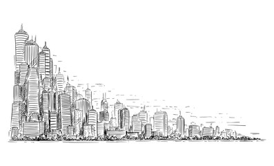 Vector artistic sketchy pen and ink drawing illustration of generic city high rise cityscape landscape with skyscraper buildings, Business and Government Buildings. Fototapete