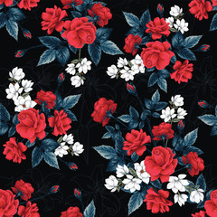 Seamless pattern floral red Rose white Magnolia Lilly flowers black background.Vector illustration hand drawing line art.