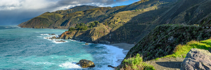 Acrylic Prints Coast Panorama of Big Sur Coast and Pacific Ocean