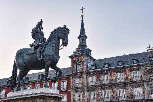 Madrid, Spain - 20 July, 2019: Towers of the  Casa de la Panaderia in Plaza Mayor