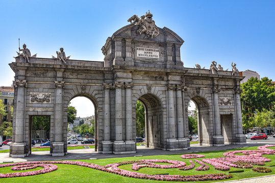 Madrid, Spain - July 22, 2019: Puerta de Alcala arch in Plaza de la Independencia
