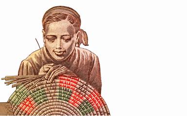 Woman woven basket portrait from Ethiopia 10 Birr 2000-2008 Banknotes. Ethiopian money. Closeup Collection..
