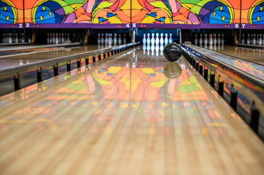 bowling alley with gutter guards in place