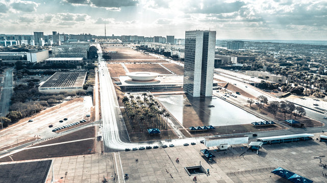 A beautiful aerial view of National Congress in Brasilia, Brazil