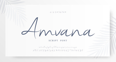 Elegant script alphabet letters font and number. Classic Lettering Minimal Fashion Wedding Designs. Typography fonts regular set. vector illustration Wall mural