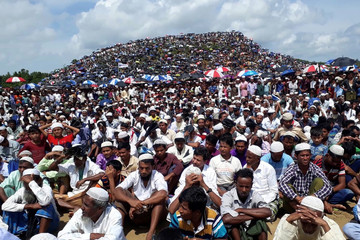 Rohingya refugees gather to mark the second anniversary of the exodus at the Kutupalong camp in Cox's Bazar