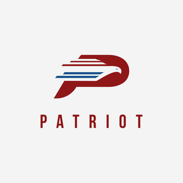 Letter P for patriot logo icon vector template on white background