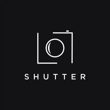 minimalist photography camera logo icon vector template on black background