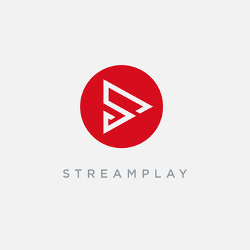 Letter S for stream play logo icon vector template on white background