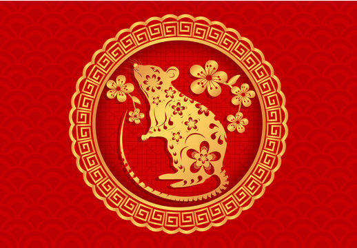 2020 Year of the White Metal Rat on the Chinese Calendar. Emblem, Icon, Print. illustration