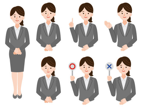 会社員女性イラスト 線なし セット