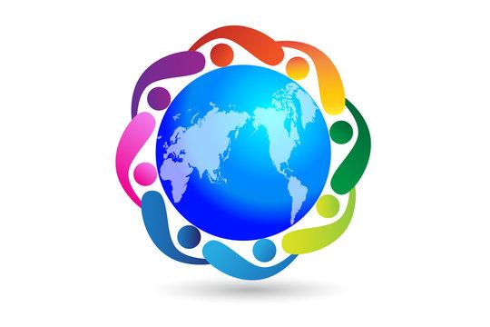 Logo world teamwork unity business people id card vector