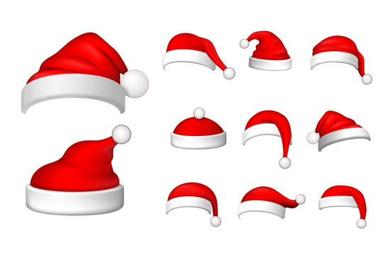 Santa Claus hat 3D set. Realistic Santa Claus hat isolated on white background. Red funny cap silhouette. Merry Christmas clothes cute design. New year decoration wear costume. Vector illustration