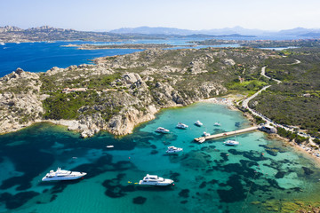 Wall Mural - View from above, stunning aerial view of the Maddalena archipelago in Sardinia with beautiful bays of turquoise sea. Maddalena Arcipelago National Park, Sardinia, Italy.