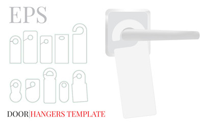 Door Hanger Template, Vector with die cut / laser cut lines. Ten different designs of Door Hangers. White, clear, blank, isolated Door Hanger mock up on white background with perspective view