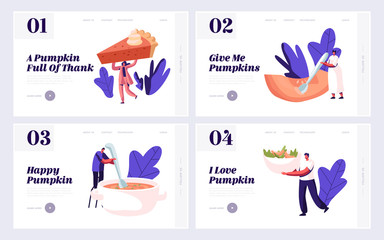 Pumpkin Home Food Menu Website Landing Page Set. Tiny Male and Female Characters Cooking and Eating Traditional Thanksgiving Day Pie, Porridge and Soup Web Page Banner Cartoon Flat Vector Illustration