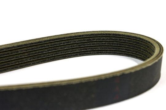 New drive belt on white background, Isolated, V-shaped belt.