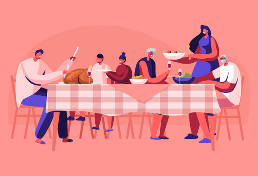 Big Family Thanksgiving Celebration Dinner Around Table with Food. Happy People Eating Meal and Talking Together, Cheerful Characters Group During Festive Lunch. Cartoon Flat Vector Illustration
