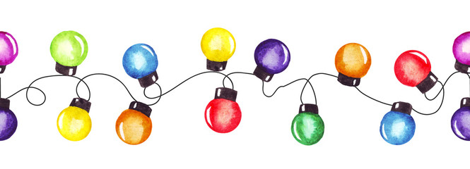 Watercolor christmas party lights garland. Colorful christmas and New Year pattern. Good for greeting cards invitations decoration