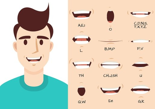 Mouth animation. Male talking mouths lips for cartoon character animation and english pronunciation. Sync speech expression vector set