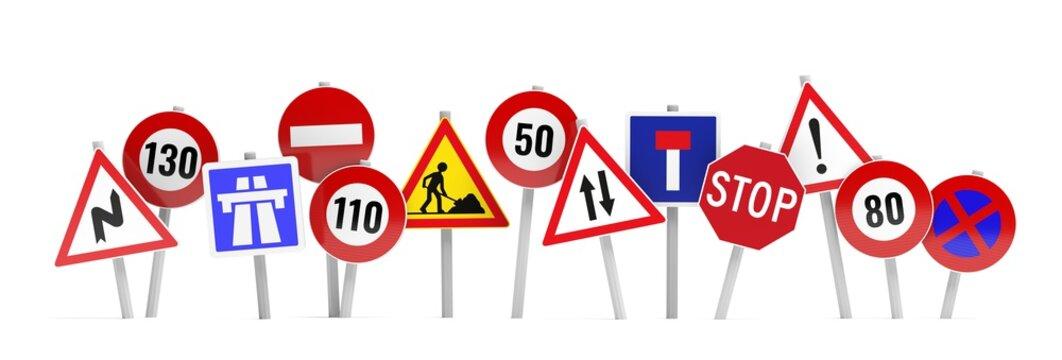 bannière panneaux de circulation