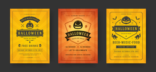 Halloween party flyers invitations or posters set vector illustration