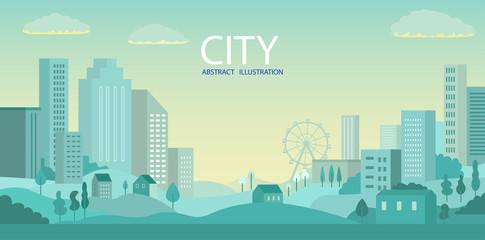 City skyline Vector illustration. Urban landscape. Daytime cityscape
