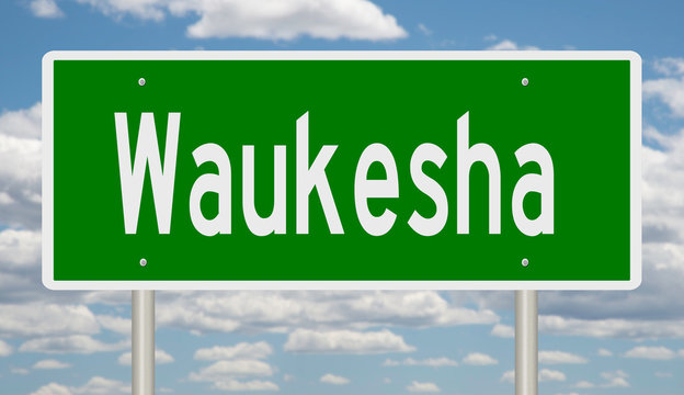 Rendering of a green highway sign for Waukesha Wisconsin