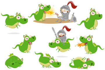 big collection of a funny cartoon dragon in different situations