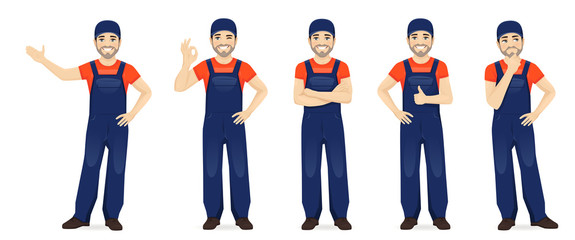 Man in blue overalls set with different gestures isolated vector illustration Wall mural