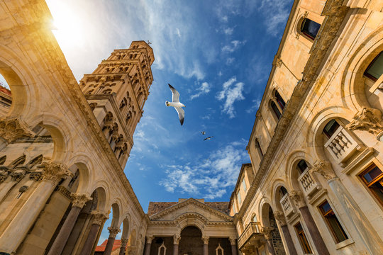 Diocletian's Palace's peristyle in front of Cathedral of Saint Domnius' bell tower in Split, Croatia. Diocletian palace UNESCO world heritage site in Split, Dalmatia, Croatia.