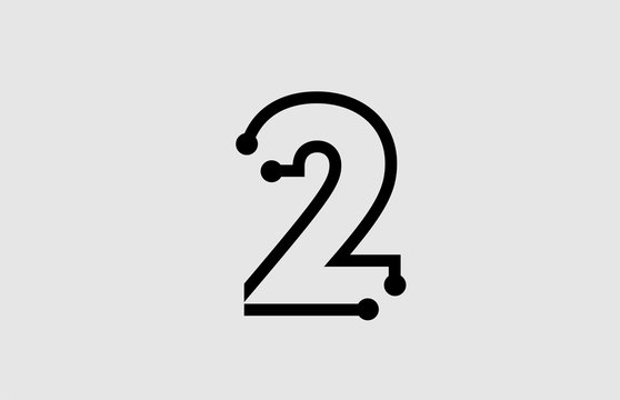 number 2 logo design with line and dots