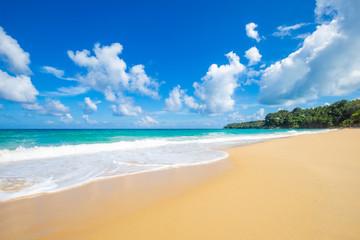 Tropical sea beach white wave against blue sky cloud