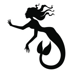 Vector illustrations of silhouette of mermaid