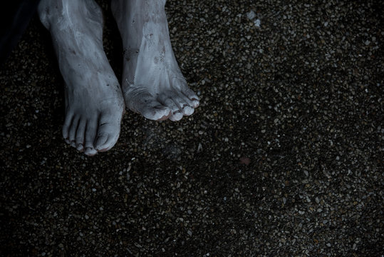 Foot of woman ghost creepy on the ground floor