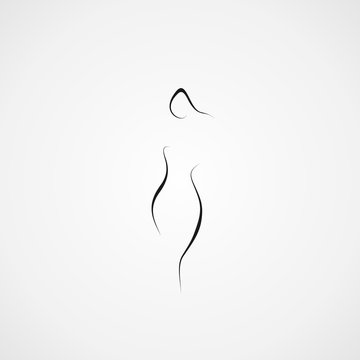 woman icon shape abstract line illustration