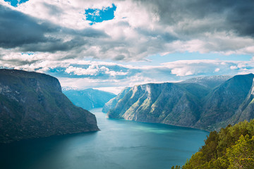 Sogn And Fjordane Fjord, Norway. Amazing Summer Scenic View Of Sogn Og Fjordane. Famous Norwegian Landmark And Popular Destination In Summer Day Fototapete