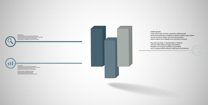 3D illustration infographic template with embossed cube vertically divided to three shifted parts