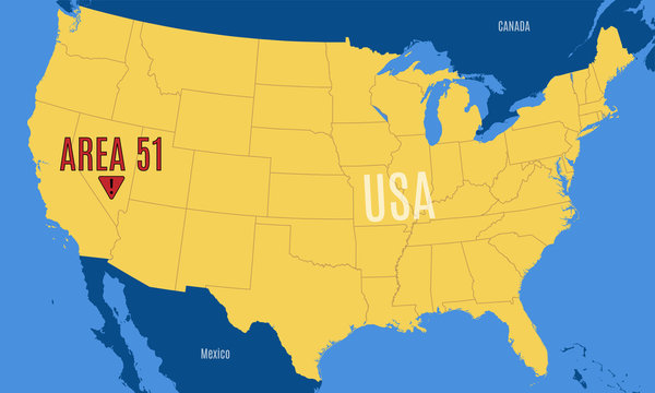 Schematic vector map of the United States with the position mark Area 51