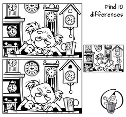 Watchmaker repairing broken old watch. Find 10 differences. Educational matching game for children. Black and white cartoon vector illustration