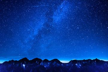 天の川と星座、北アルプス、蝶ヶ岳からの絶景眺望、穂高連峰、槍ヶ岳、