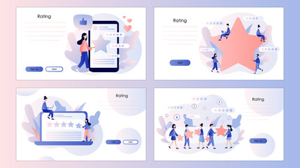 Star rating concept. Customer reviews. Screen template for mobile smart phone, landing page, template, ui, web, mobile app, poster, banner, flyer. Modern flat cartoon style. Vector illustration